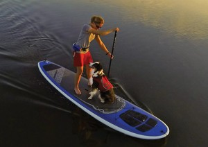Woman on Stand-up paddle with dog wearing Ruffwear gear.